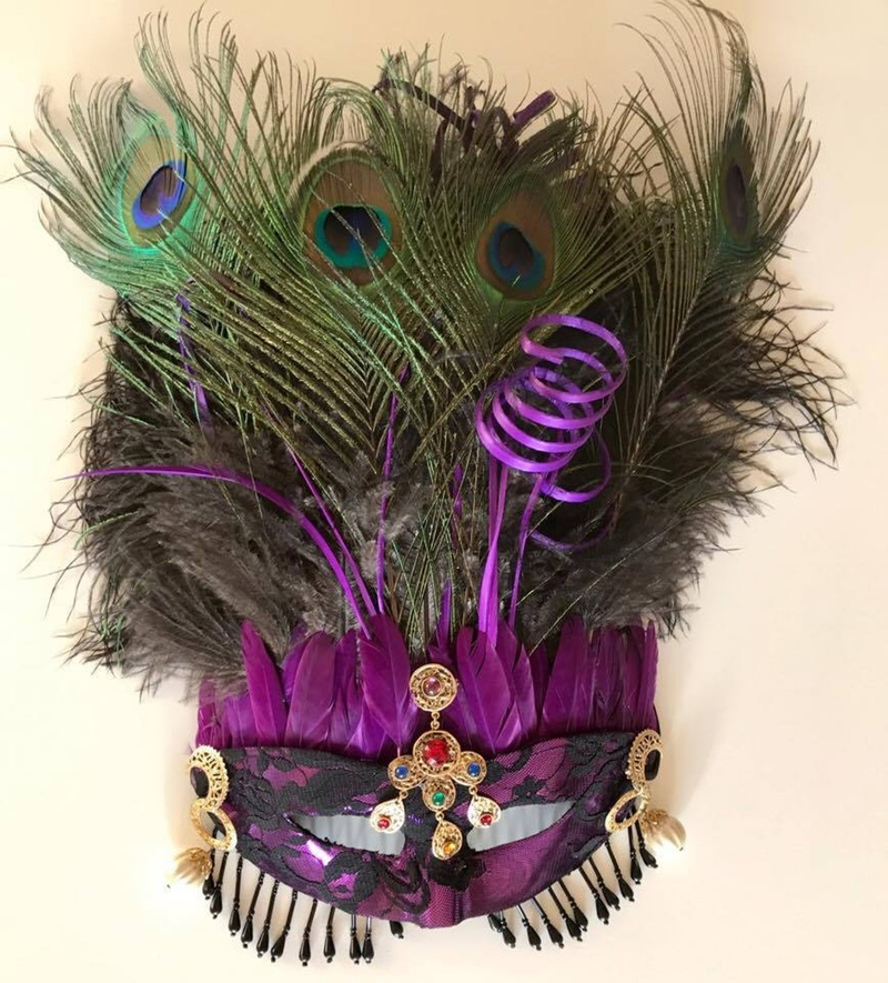 Lace mask with peacock