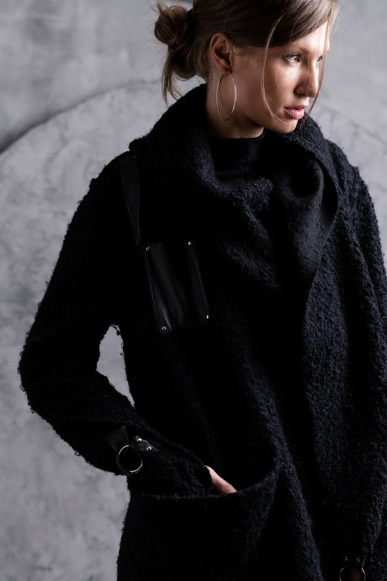 Black Oversize Cardigan Wool