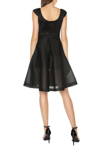 NEOPRENE MESH MIDI DRESS