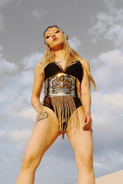 Corset skirt Gold chain belt Gold leather corset Underbust corset Steampunk clothing Festival outfit woman Rave outfit Rave set Burning man